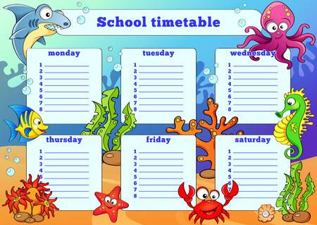 cronograma: Horario de la escuela con los animales marinos