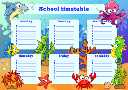timetable: School timetable with sea animals
