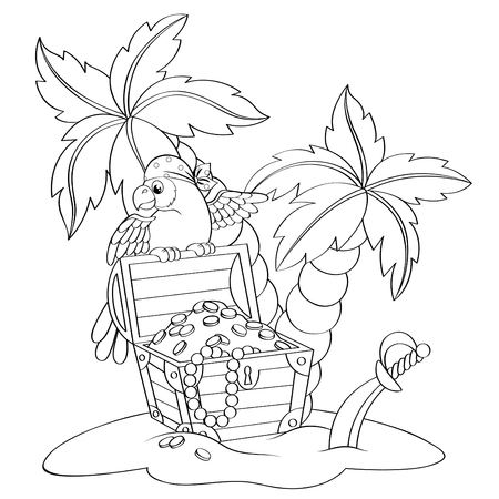 Parrot on pirates treasure chest. Deserted beach with palm trees. Black and white vector illustration for coloring book