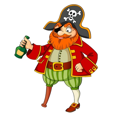 rum: Pirate with bottle of rum Illustration