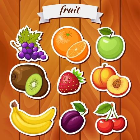 Fresh fruit on wooden background