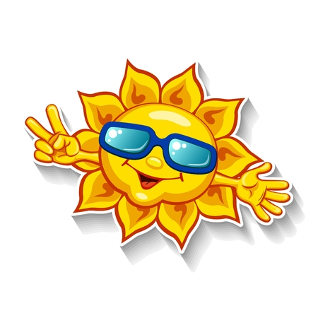 victory sign: Cartoon sun in sunglasses showing victory sign with fingers Illustration