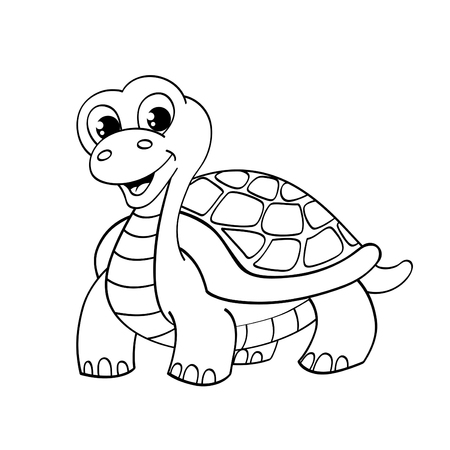 Funny cartoon turtle. Illustration for coloring