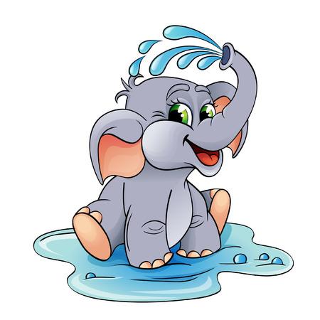 elefant: Funny Cartoon-Baby-Elefanten, die sich mit Wasser gießt