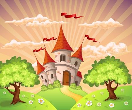 rycerz: Bajkowy krajobraz z zamku Ilustracja