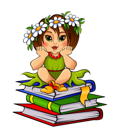Girl sitting on a pile of books