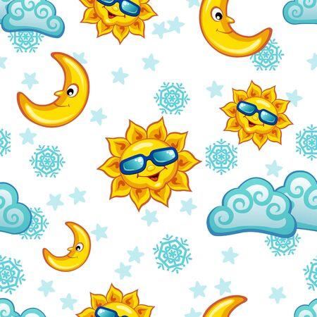 sonne mond: Bunte nahtlose Muster mit Sonne, Mond und Wolken Illustration