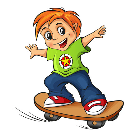 skateboarden jongen Stock Illustratie