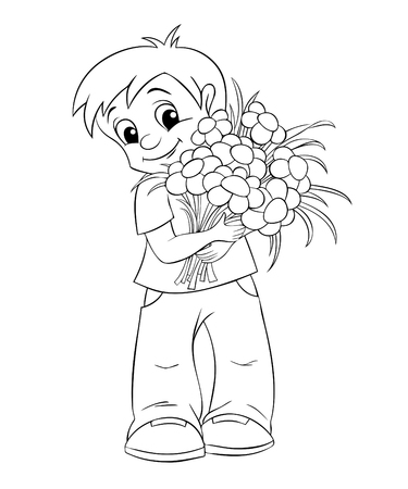 black boys: Cute little boy with bouquet. Black and white illustration for coloring book Illustration
