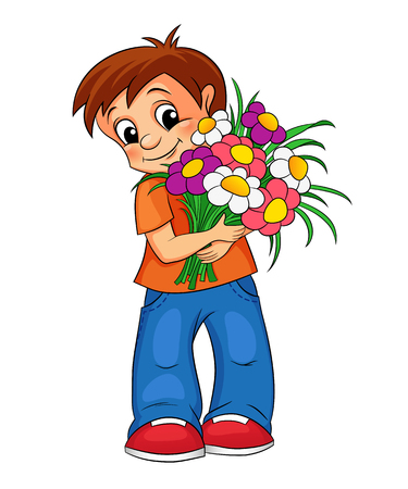 giving: Cute little boy with bouquet