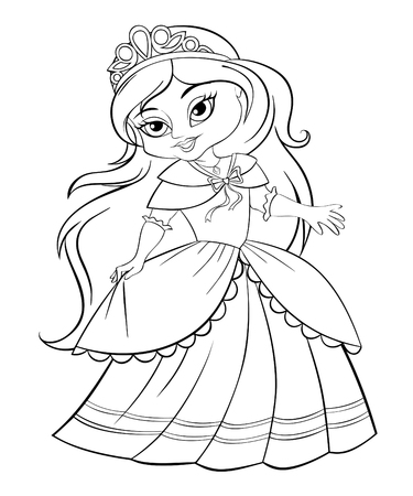 Cute little princess. Black and white illustration for coloring book