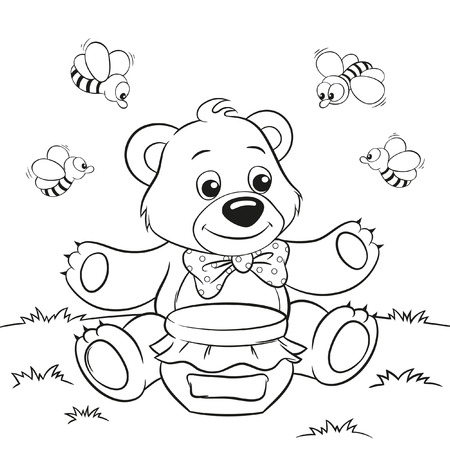 honey bear: Vector illustration of cute cartoon bear with honey and bees for coloring book Illustration