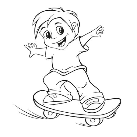 skateboarding tricks: Vector illustration of skateboarding boy for coloring book