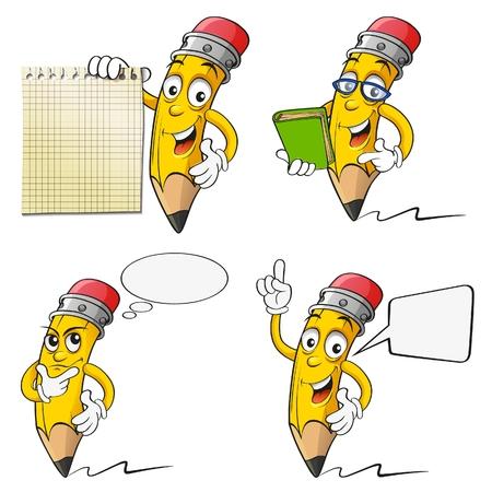 Set of cartoon pencil 向量圖像
