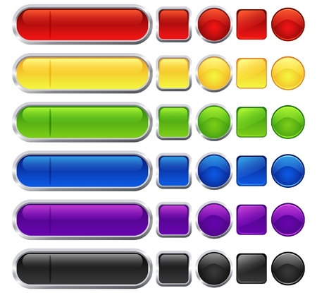 Set of different shape and color blank web buttons