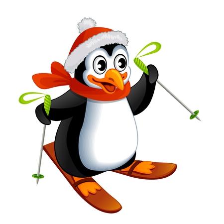 skis: Cartoon penguin on ski