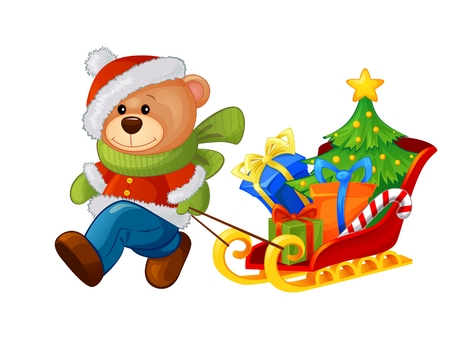 bringing: Cartoon bear bringing sleigh with Christmas tree and gifts Illustration