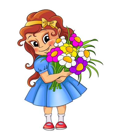 birthday invitation: Cute little girl with bouquet