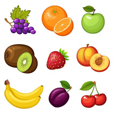 peach: Fresh fruits. Grape, orange, apple, kiwi, strawberry, peach, banana, plum, cherry Illustration