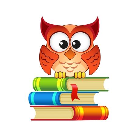 escuela caricatura: Owl sentado sobre una pila de libros