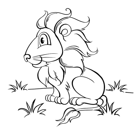 black and white: Cute cartoon lion. Black and white illustration for coloring book Illustration