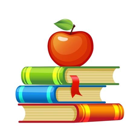 manzana caricatura: Manzana roja sobre un montón de libros  Vectores