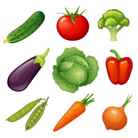 in peas: Fresh vegetables. Cucumber, tomato, broccoli, eggplant, cabbage, peppers, peas, carrots, onions