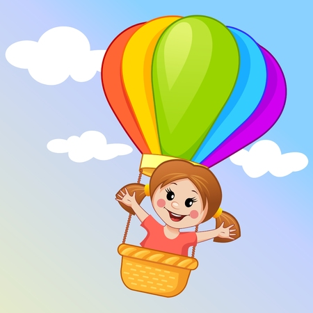 balloon cartoon: Cute little girl flying in a hot air balloon Illustration