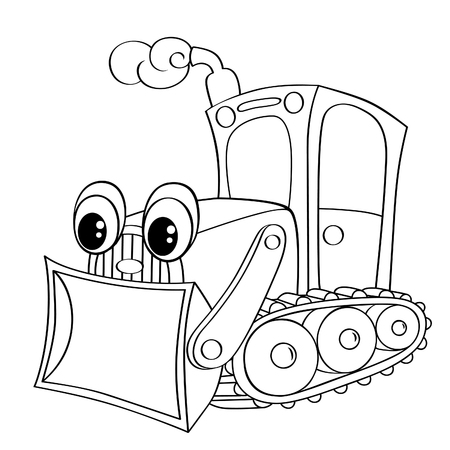 digger: Funny cartoon bulldozer. Black and white vector illustration for coloring book