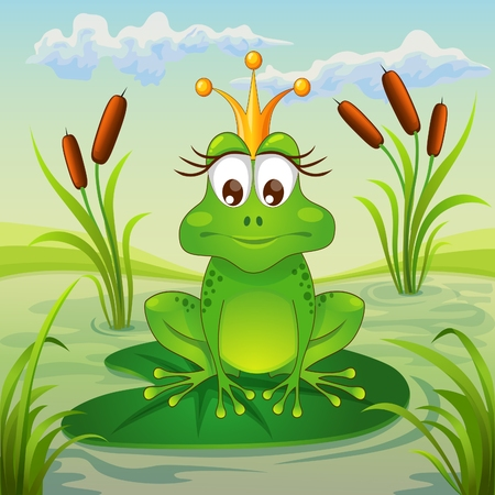 princess frog: Princess frog sitting on leaf of water lily Illustration