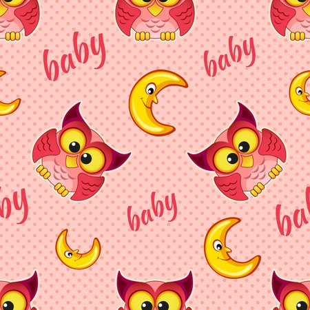 nestling birds: Seamless pattern with owls and moons for children