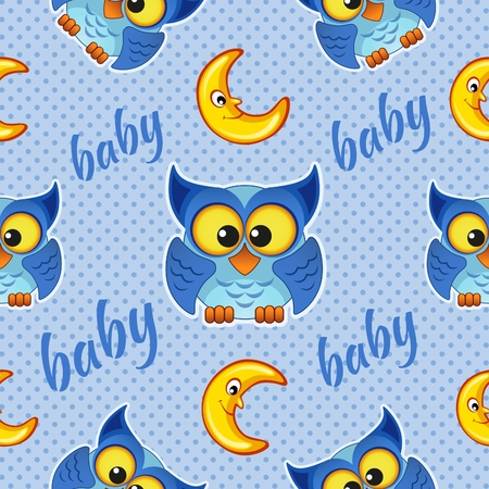 moons: Seamless pattern with owls and moons for children