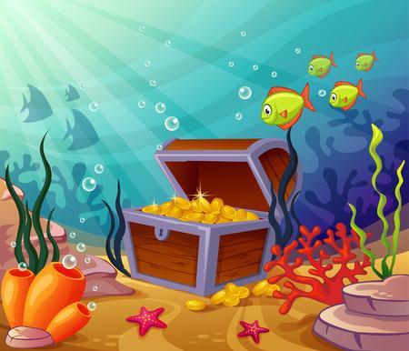 corales marinos: Mundos bajo el agua con unas tesoros Vectores