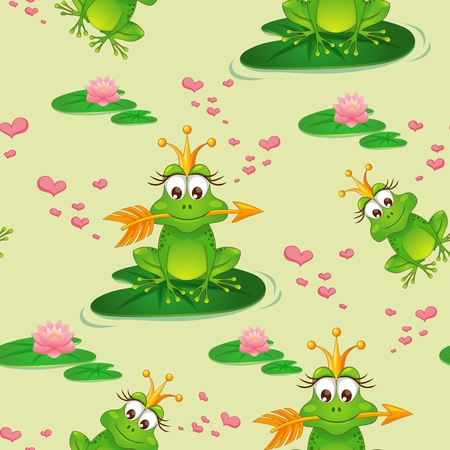 Seamless pattern with princess frog and water lily