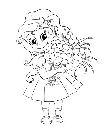 Cute little girl with bouquet. Black and white vector illustration for coloring book
