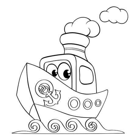 Funny cartoon ship. Black and white vector illustration for coloring book Illustration