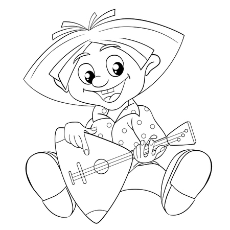 brownie: Brownie playing a balalaika. Black and white illustration for coloring book