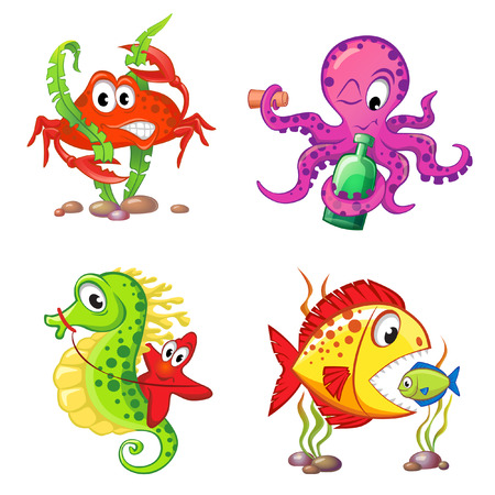Set of cute cartoon sea animals isolated on white background. Crab, seahorse, starfish, octopus, fishes Illustration