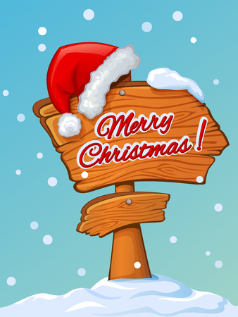 pompon: Santas hat on a wooden pointer with Christmas greetings