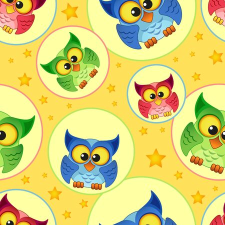 nestling birds: Seamless pattern with owls and stars