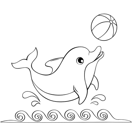 Cute dolphin playing with a ball. Black and white illustration for coloring book