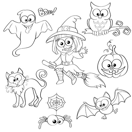 Set of Halloween elements. Black and white vector illustration for coloring book Çizim