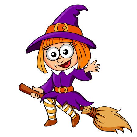 orange fruit: Halloween witch flying on broom Illustration