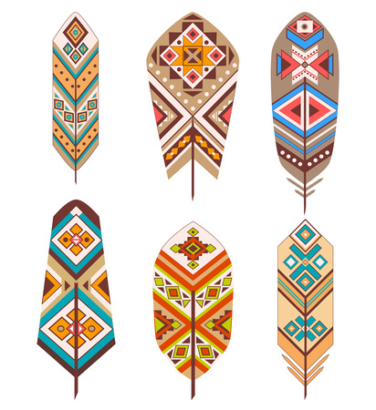 redskin: Tribal feathers with ethnic pattern