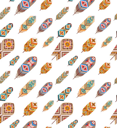 redskin: Seamless pattern with ethnic feathers Illustration