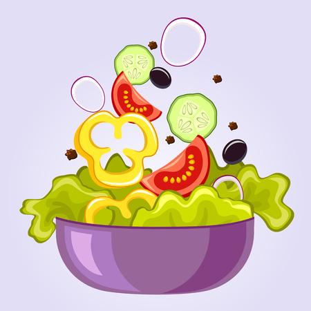 Ensalada fresca, con lechuga, tomate, aceite de oliva negro, pepino, pimiento y cebolla Ilustración de vector
