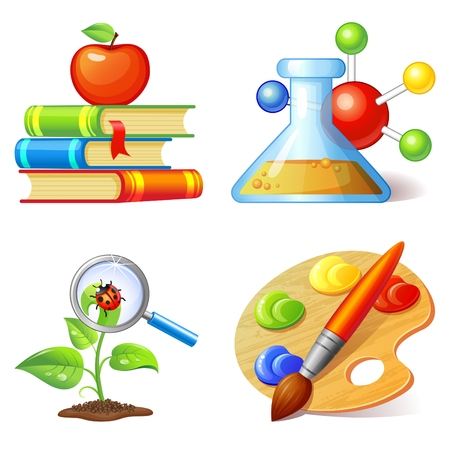 Education icons set isolated on white background