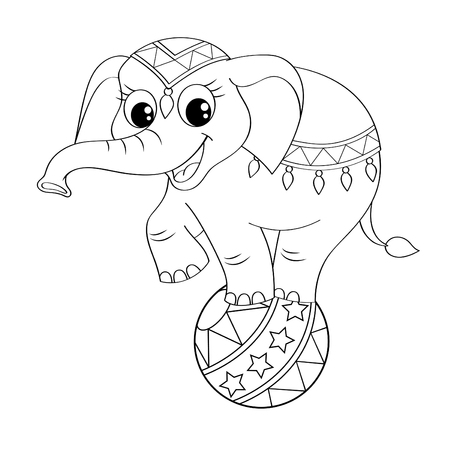 circus arena: Funny cartoon circus elephant balancing on ball. Black and white illustration for coloring book