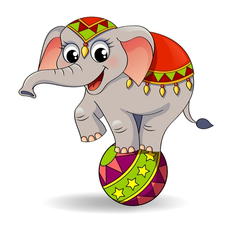 Funny cartoon circus elephant balancing on ball