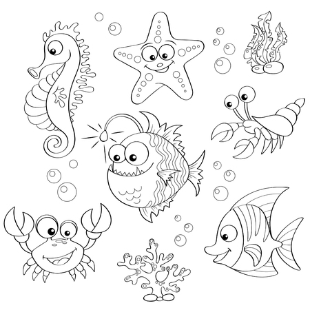 reef: Set of cute cartoon sea animals. Black and white illustration for coloring book
